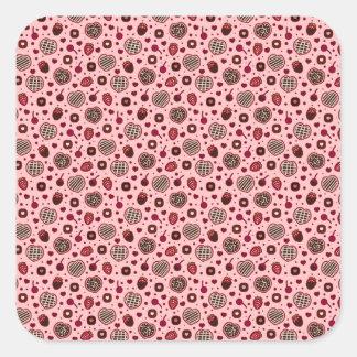 Pegatina Cuadrada El dulce rosado de la tarjeta del día de San