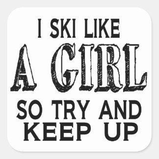 Pegatina Cuadrada El esquí tiene gusto de un chica