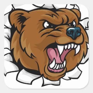 Pegatina Cuadrada El fondo enojado de la mascota del oso agarra