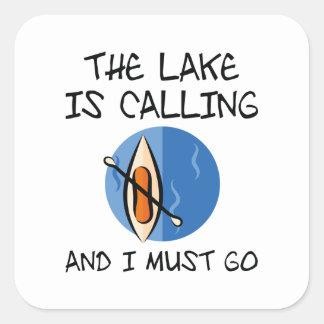 Pegatina Cuadrada El lago está llamando