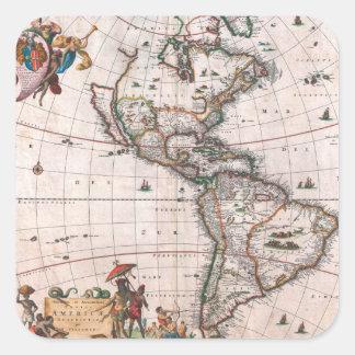 Pegatina Cuadrada El mapa de Visscher del nuevo mundo