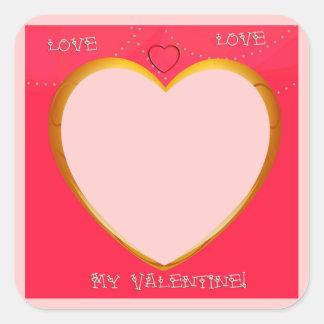 Pegatina Cuadrada El marco del amor y del corazón añade su foto