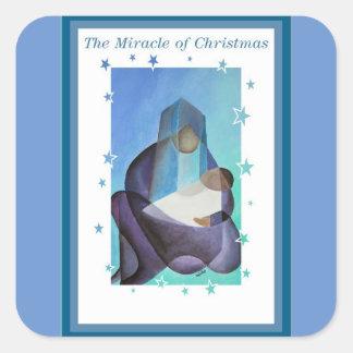 Pegatina Cuadrada El milagro del navidad