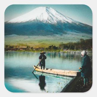 Pegatina Cuadrada El monte Fuji del vintage del 富士 de Yamanaka del