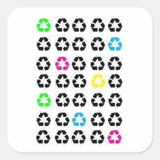 Pegatina Cuadrada El neón recicla amarillo azulverde negro de los