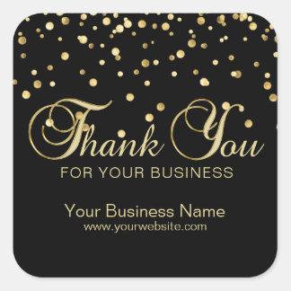 Pegatina Cuadrada El oro negro elegante le agradece por su negocio
