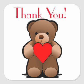 Pegatina Cuadrada El oso y el corazón de peluche le agradecen