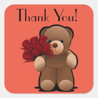 Pegatina Cuadrada El oso y los rosas de peluche le agradecen