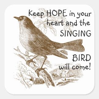 Pegatina Cuadrada El pájaro del vintage mantiene esperanza sus