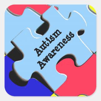 Pegatina Cuadrada El rompecabezas de la conciencia del autismo junta