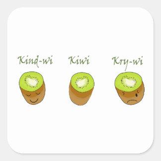 Pegatina Cuadrada El trío del kiwi