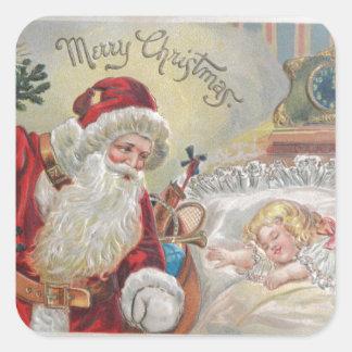 Pegatina Cuadrada El vintage Papá Noel entrega los regalos