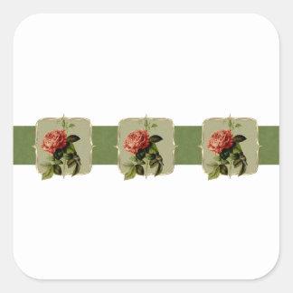 Pegatina Cuadrada El vintage rojo florece de par en par
