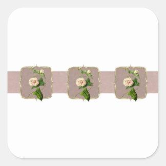 Pegatina Cuadrada El vintage rosa claro florece de par en par