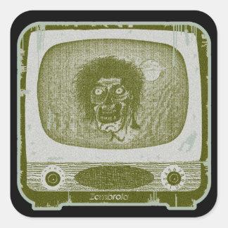 Pegatina Cuadrada ¡el zombi! En TV~Green