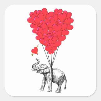 Pegatina Cuadrada Elefante y globos rojos del corazón