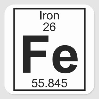 Pegatina Cuadrada Elemento 026 - FE - Hierro (lleno)