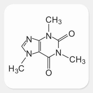 Pegatina Cuadrada elemento de la química del café de la fórmula