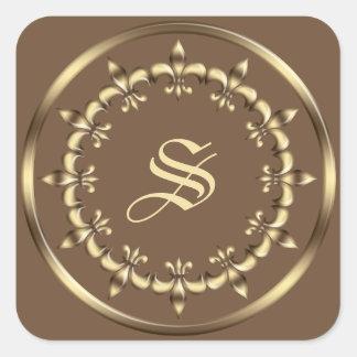 Pegatina Cuadrada Elemento real de oro del círculo de la flor de