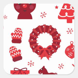 Pegatina Cuadrada Elementos de Navidad que sorprenden rojos