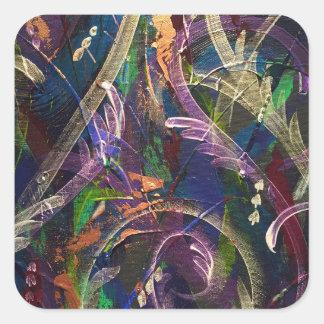 Pegatina Cuadrada Embalaje abstracto en pavo real