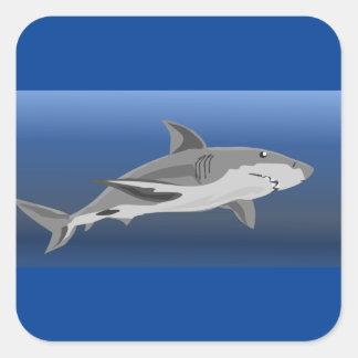 Pegatina Cuadrada embalaje del tiburón