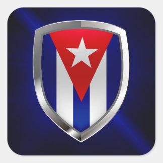 Pegatina Cuadrada Emblema de Cuba Mettalic