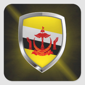 Pegatina Cuadrada Emblema metálico de Brunei