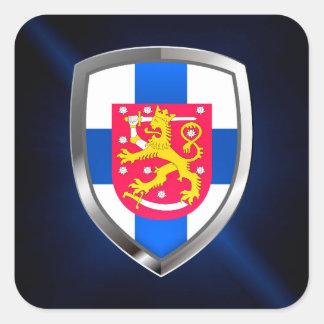 Pegatina Cuadrada Emblema metálico de Finlandia