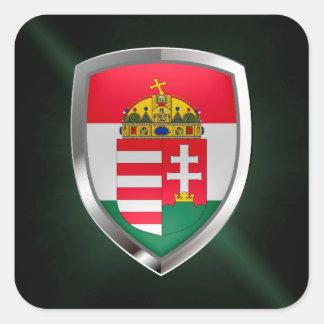 Pegatina Cuadrada Emblema metálico de Hungría