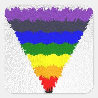Pegatina Cuadrada Embudo ondulado del triángulo del arco iris de las
