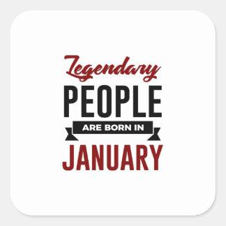 Pegatina Cuadrada En enero cumpleaños llevado legendario de los