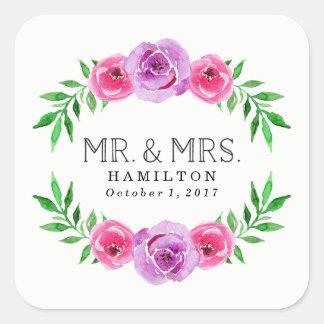 Pegatina Cuadrada En Sr. y señora Wedding de la floración el |