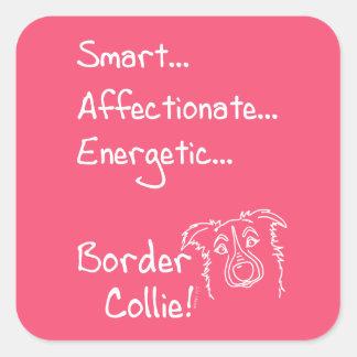 Pegatina Cuadrada Energetic Border Collie