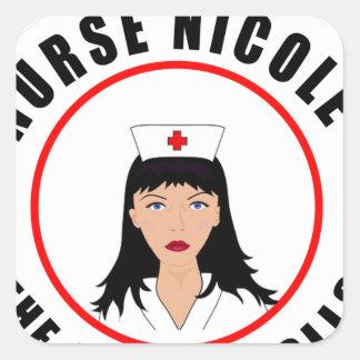 Pegatina Cuadrada Enfermera de Nicole