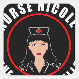 Pegatina Cuadrada Enfermera Nicole