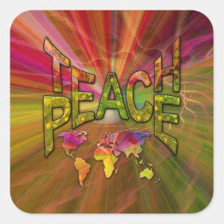 Pegatina Cuadrada Enseñe a la paz