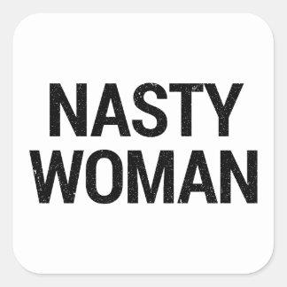 Pegatina Cuadrada Envoltorio para regalos desagradable de la mujer