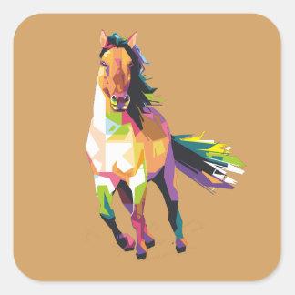 Pegatina Cuadrada Equestrian corriente colorido del semental del