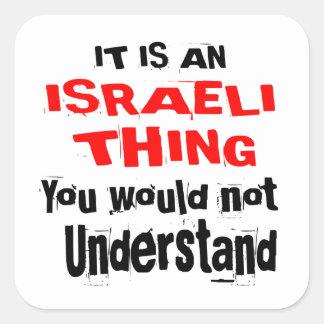 PEGATINA CUADRADA ES DISEÑOS ISRAELÍES DE LA COSA