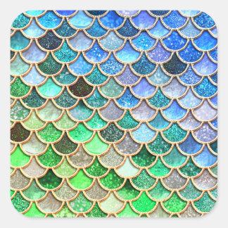 Pegatina Cuadrada Escalas brillantes azulverdes de la sirena del