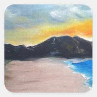 Pegatina Cuadrada Escena pintada de la playa