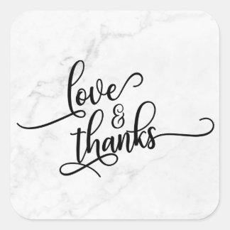 Pegatina Cuadrada Escritura del amor y de las gracias sobre el