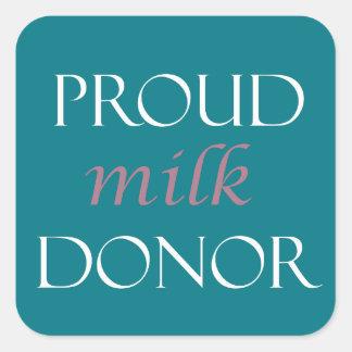 Pegatina Cuadrada Escritura rosada de la leche orgullosa y blanca