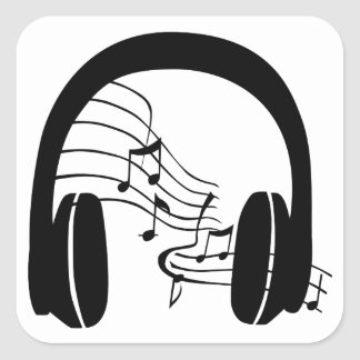 Pegatina Cuadrada Escucho la música
