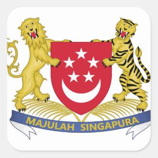 Pegatina Cuadrada Escudo de armas del emblema del 新加坡国徽 de Singapur