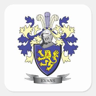 Pegatina Cuadrada Escudo de armas del escudo de la familia de Evans