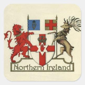 Pegatina Cuadrada Escudo de armas para Irlanda del Norte