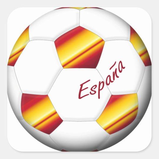 Pegatina Cuadrada ESPAÑA Balón de Fútbol colores de bandera española