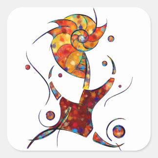 Pegatina Cuadrada Espanessua - flor espiral imaginaria